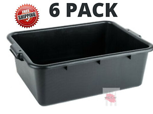 6 Pack 20 x15 x7 Black Polypropylene Bus Plastic Restaurant Dishwasher Tub Cps