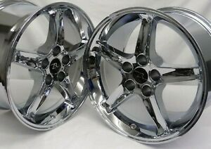 17 Chrome Ford Mustang Cobra R Replica Wheels 17x9 17x10 5 5x114 3 Sn95 94 04