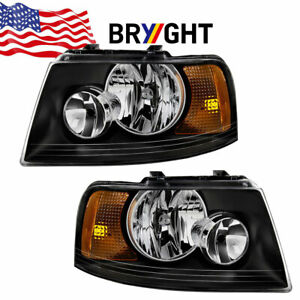 For 2003 2006 Ford Expedition Black Headlights Amber Corner Lamps Left right