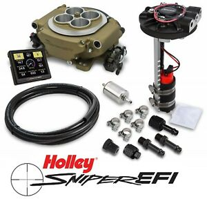 Holley Sniper Efi 550 516d 4bbl Fuel Injection Returnless Master Kit Gold Finish