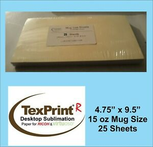 Texprint R Sublimation Transfer Paper 4 75 X 9 5 Mug Size Pack Of 25 Sheets