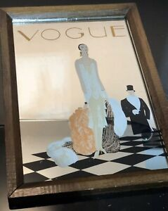 Vtg Wall Art Mirror Vogue Woman Art Deco Mid Century Designer