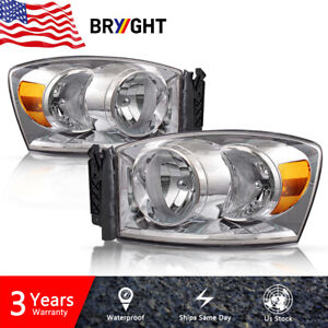 For 2006 2008 Dodge Ram 1500 2500 3500 Pickup Headlights Headlamps Assembly Pair