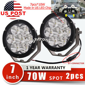 2pcs 7inch 70w 7000lm Round Led Driving Work Spot Head Light Offroad 4wd Atv Suv