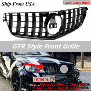 Gt R Amg Style Front Grill Grille For 08 14 Mercedes Benz C Class W204 C200 C300