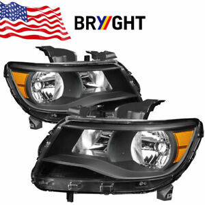 Fits 2015 2017 Chevy Colorado Black Clear Amber Corner Headlights Headlamps