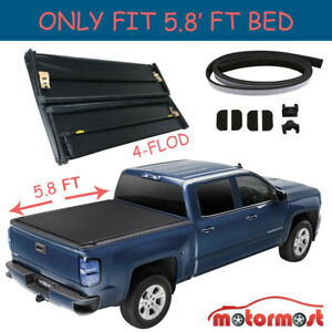4 Fold 5 7 5 8 Ft Truck Bed Tonneau Cover For 09 18 Dodge Ram 2500 No Ram Box
