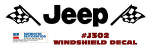 Qj j302 Jeep Windshield Decal With Flags Licensed Graphic
