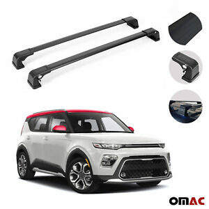 Roof Rack Cross Bars Luggage Carrier 2 Pcs Black Set For Kia Soul 2020 2021