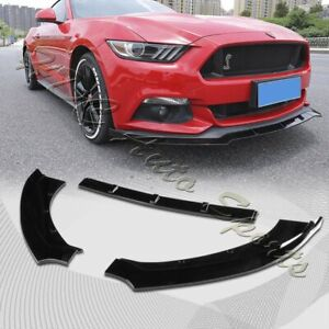 For 2015 2017 Ford Mustang Painted Black Front Bumper Body Kit Spoiler Lip 3pcs
