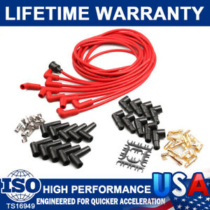 8mm Spark Plug Wire Cable Set For Wire Core Suppression V8 4041k 90 Degree Boots