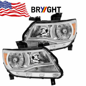 For 2015 2017 Chevy Colorado Chrome Housing Amber Corner Headlights Lamp Pair