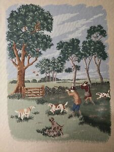 Antique Victorian Needle Point Men Hunting Dogs Country Trees 32 X 24 1 2