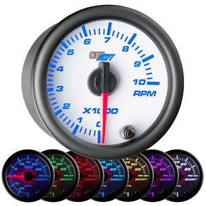 2 1 16 Glowshift White 7 Color Series Tachometer Tach Rpm Gauge Meter