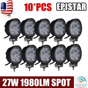 10x 4inch 27w Square Led Work Light Bar Flood Offroad Atv Fog Truck Lamp 4wd 12v