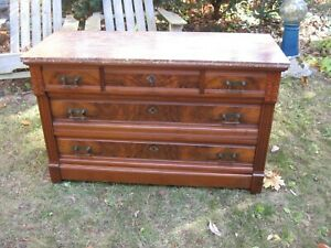 A Antique 1800s Rose Marble Top Chest Dresser Great Condition 5 Drawers W Key