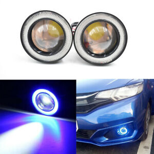3 Led Blue Cob Projector Fog Driving Lamp Angel Eye Halo Ring Drl Daytime Light