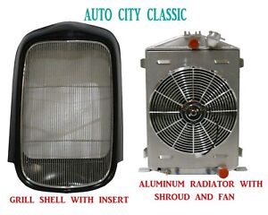 1932 Ford Grill Shell Radiator Fan Smooth Steel Full Height Aluminum