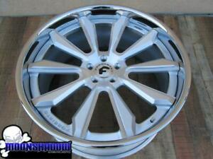 22 Forgiato F2 04 Brushed Silver Wheels Mercedes S Class S550 22x8 5 22x10 5
