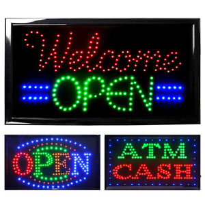 Led Open Neon Business Sign Light Animated Motion Bar Flash Bright With On off