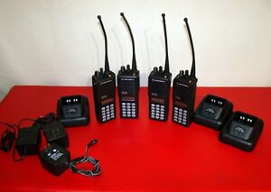 Lot Of 4 Motorola Mts2000 Model Iii Radio H01uch6pw1bn W 3 Charger 800 Mhz