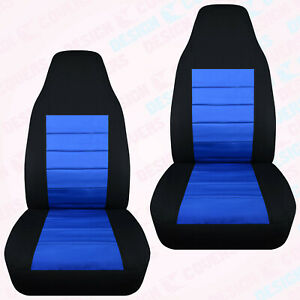 Designcover Front Car Seat Covers Blk Med Blue Fits 04 12ford Ranger Bucket Seat
