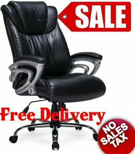 High Back Big And Tall Ergonomic Office Chair Executive Bonded Leather Thick Pad