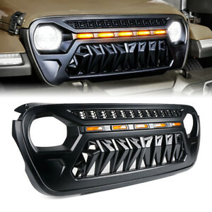 Front Bumper Grille W Led Running Lights Grid For 2018 2021 Jeep Wrangler Jl Jt