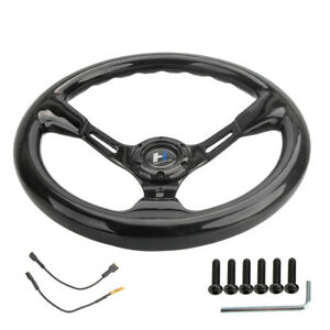 Hiwowsport Full Carbon Fiber Steering Wheel 350mm Depth 89mm Electric Horn