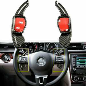 Real Carbon Fiber Steering Wheel Dsg Paddle Extension Shift Trim For Vw Golf Cc