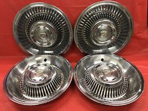 Vintage Set Of 4 1963 64 Cadillac 15 Hubcaps Deville Fleetwood Very Good Cond