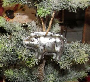Primitive Antique Vtg Style Christmas Tree Pig Hog Resin Chocolate Mold Ornament