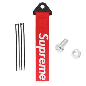 High Strength Racing Tow Strap Front Rear Bumper Towing Hook Red Supreme