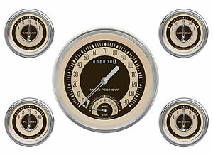 Classic Instruments Nostalgia Vt Series 5 Gauge Set Nt65slc Speedo Tach Fuel Oil