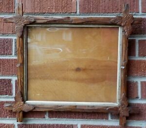 Old Adirondack Carved Wood Criss Cross Frame Old Glass 10 X 12 In Fit C1870s