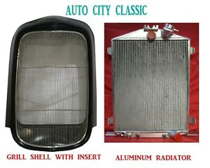 1932 Smooth Grill Shell Ford Full Height Steel Shell Aluminum Radiator