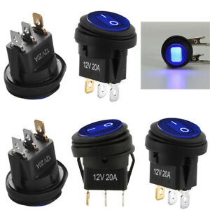 5pc 12v 20a Waterproof Round On off Rocker Switch Auto Boat Spst Marine Blue New