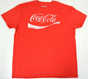 ENJOY COCA-COLA T-shirt Vintage Distressed COKE Soda Tee Men's LARGE Red New