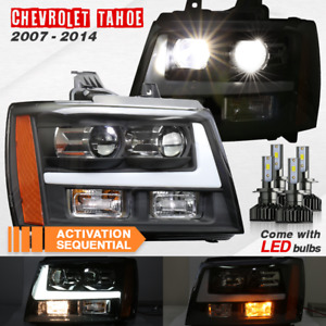 2007 2013 Chevy Tahoe Suburban Avalanche Black With Drl Led Projector Headlights