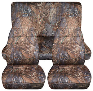 Full Set Front Rear Camo Reeds Car Seat Covers Fits 1989 1998 Geo Tracker