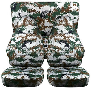 Full Set Front Rear Digital Camo Green Car Seat Covers Fits 1989 1998geo Tracker