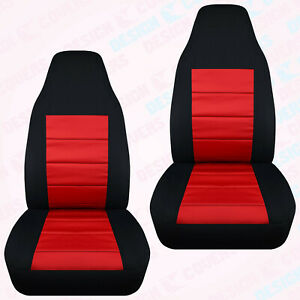 Designcover Front Car Seat Covers Blk Red Fits 98 03 Ford Ranger Bucket Seats