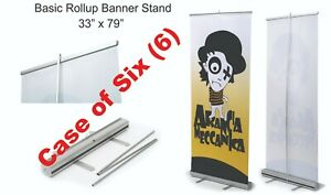 6 Retractable Roll Up Banner Stand display 33 X 79 Free Shipping