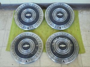 1970 Chevrolet Hub Caps 15 Set Of 4 Black Wheel Covers 70 Hubcaps Monte Impala