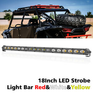 18 In Led Strobe Light Bar White Amber Red Emergency Beacon Warn Tow Truck Tail