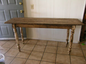 Mexican Rustic Reclaimed Wood Sofa Console Table