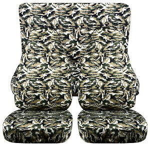 Full Set Front rear Military Camo 68 Car Seat Covers Fits 1989 1998 Geo Tracker