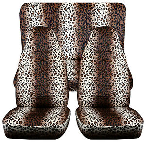 Full Set Front Rear Leopard Tan Car Seat Covers Fits 1989 1998 Geo Tracker