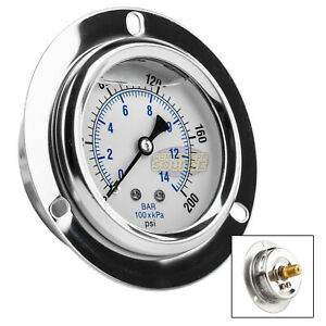 2 5 Liquid Filled Pressure Gauge 0 200 Psi 1 4 Npt Cbm Panel Flush Mount