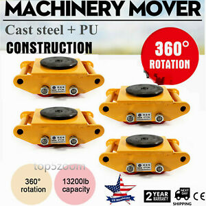 Machinery Mover With 360 rotation Cap 13200lbs 6t 4 Rollers Machine Dolly Skate